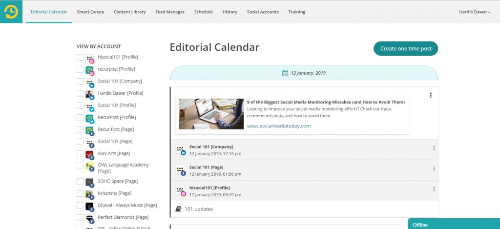 RecurPost Editorial calendar - recurpost - social media scheduler