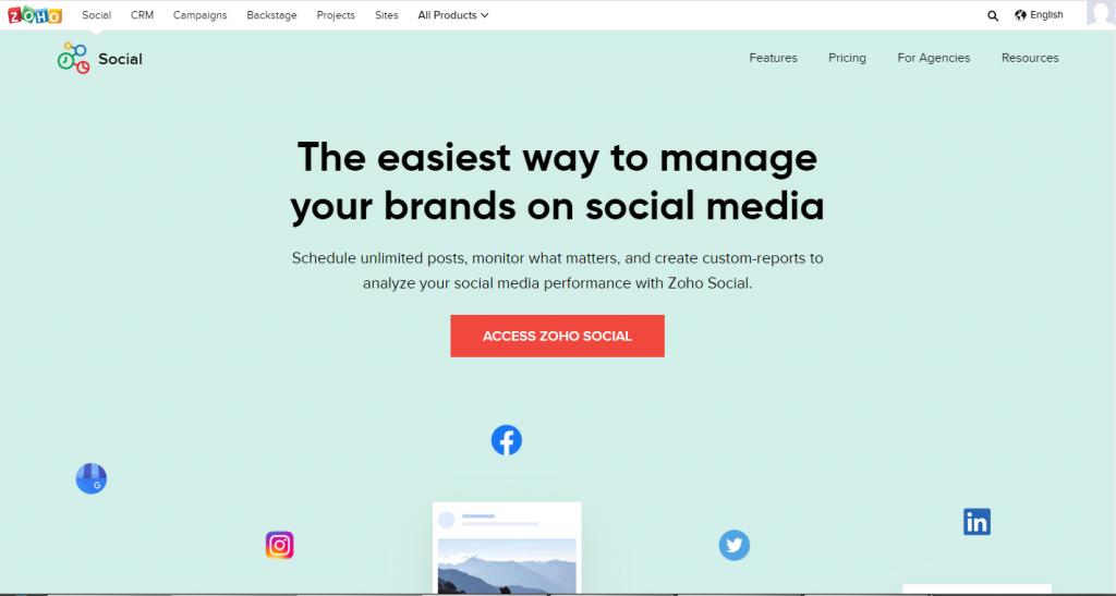 zoho social - social media scheduler